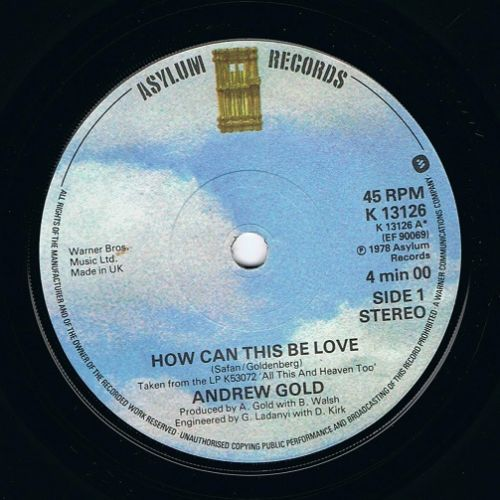 ANDREW GOLD How Can This Be Love Vinyl Record 7 Inch Asylum 1978